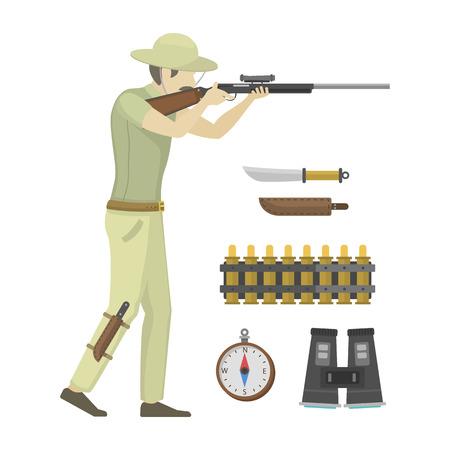 Cartoon illustration of hunter aiming rifle vector character.