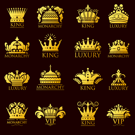 Crown king vintage premium golden yellow badge heraldic ornament icon tiara logo and luxury emblem kingdom princess baroque vector illustration. Imagens - 73047902