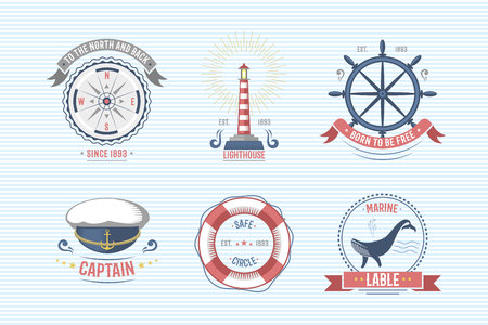 Fashion nautical and marine sailing themed label vector.