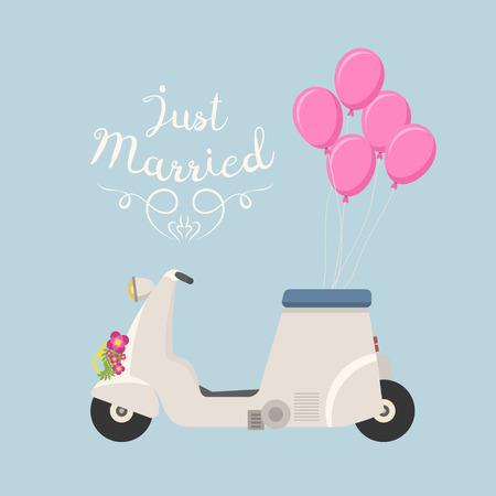 Retro vector wedding scooter illustration. Çizim