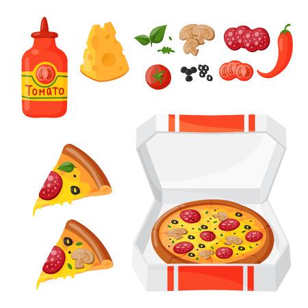 ホット新鮮なピザ食材アイコン ベクトル イラストです。