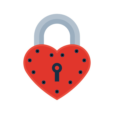 House door heart lock access equipment icon vector safety password privacy element with key.