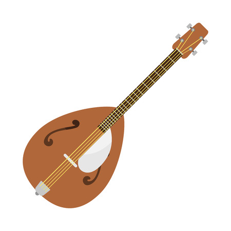 Dombra guitar icon stringed musical instrument classical orchestra art sound tool and acoustic symphony stringed fiddle wooden vector illustration.