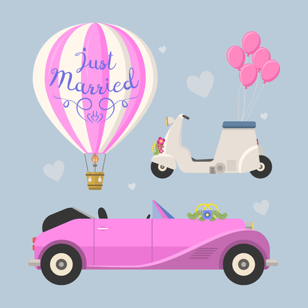 cabrio: Wedding fashion transportation vector illustration.