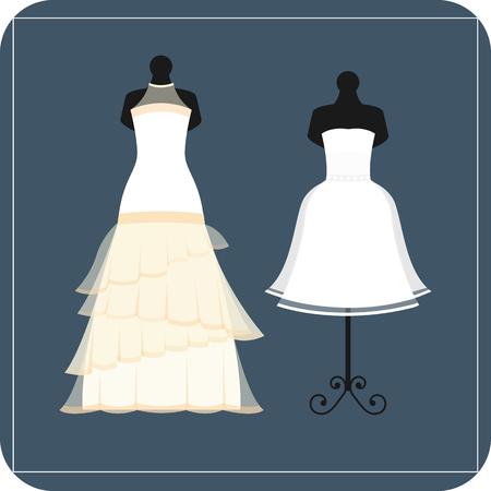Wedding bride dress elegance style celebration vector illustration.