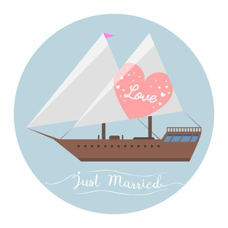 Ship wedding just married sea transportation vector illustration.