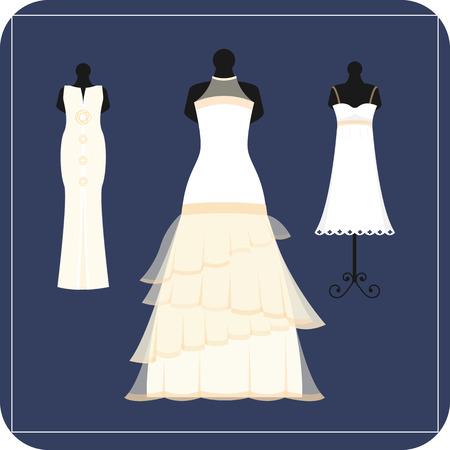 Mariage mariée robe élégance style célébration illustration vectorielle.