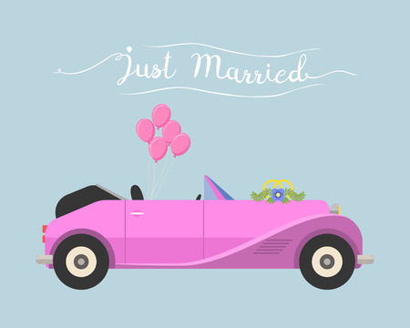 cabrio: Retro cabrio car wedding just married vector vehicle.