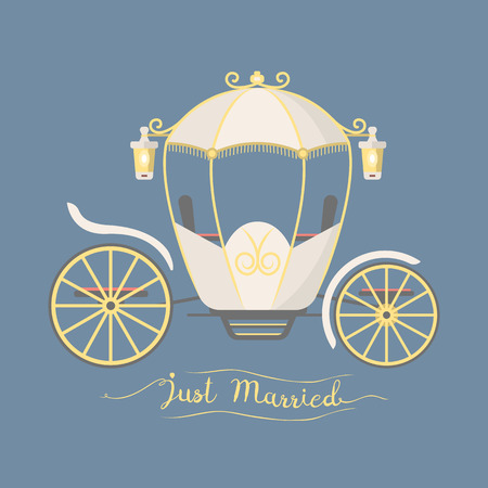 Fairy tale vintage carriage decoration royal element retro wedding coach with classic elegant accessory vector illustration. Ilustracja