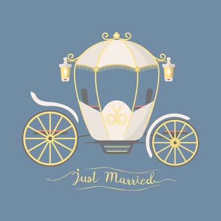 Sprookje vintage vervoer decoratie koninklijk element retro huwelijk coach met klassieke elegante accessoire vector illustratie.