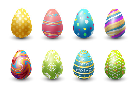 Easter eggs painted with spring pattern vector illustration. Illustration