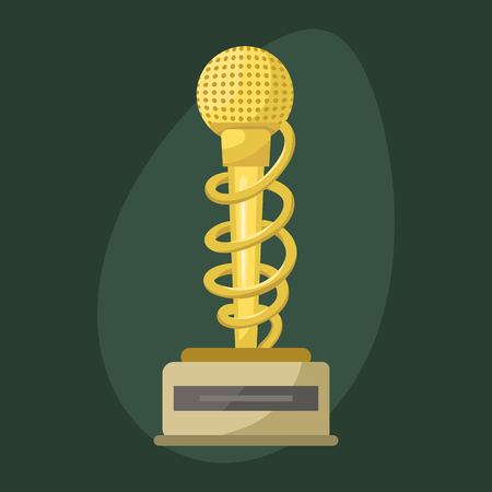 Gold rock star trophy music microphone best entertainment win achievement clef and sound shiny golden melody success prize pedestal victory vector illustration.