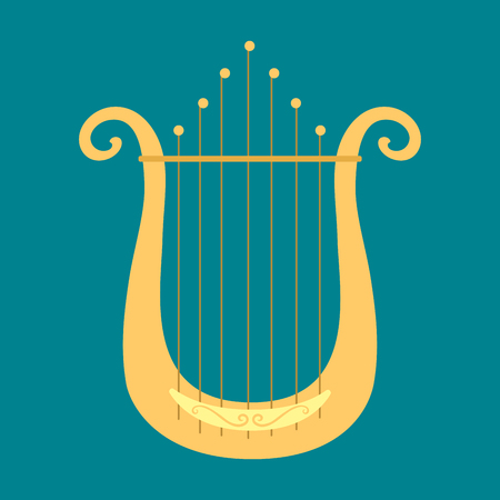 Banjo guitar icon stringed musical instrument classical orchestra art sound tool and acoustic symphony stringed fiddle wooden illustration.