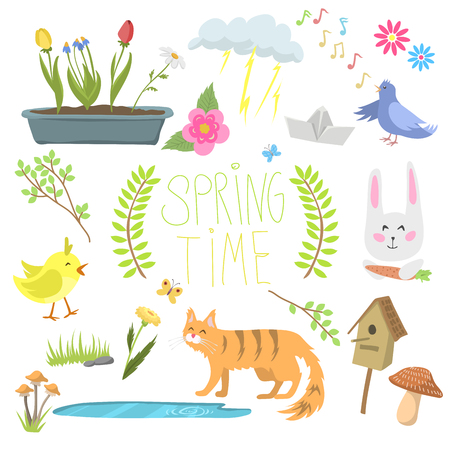 Spring natural floral symbols with blossom gardening tools beauty design and nature grass season branch springtime hand drawn elements vector illustration. Birds and animals outdoor concept. Illustration