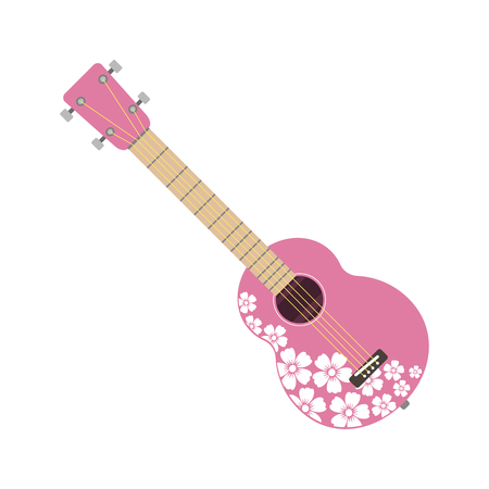 Pink ukulele isolated fine performance stringed folk guitar music art instrument and concert musical orchestra string fiddle hawaiian vector illustration. Illustration