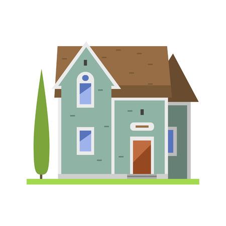 Casa de pueblo de estilo plano colorido casa de campo casa inmobiliaria y casa residencial edificio residencial ilustración vectorial de construcción . Foto de archivo - 74269779