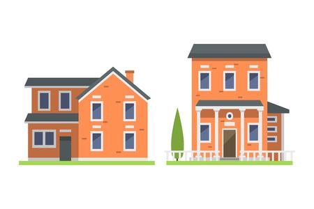 La cabaña de las propiedades inmobiliarias del símbolo de la casa del estilo de la casa plana colorida linda del estilo y el diseño residencial residencial del diseño casero del vector vector. Foto de archivo - 74212569