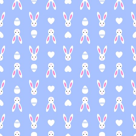 Easter blue seamless pattern retro bunny vintage design party holiday celebration wallpaper and greeting colorful fabric textile with eggs vector illustration.