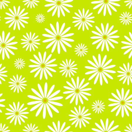 Hand drawn flower pattern easter chamomile wallpaper with print ornament decoration and floral graphic art nature drawing vector illustration.