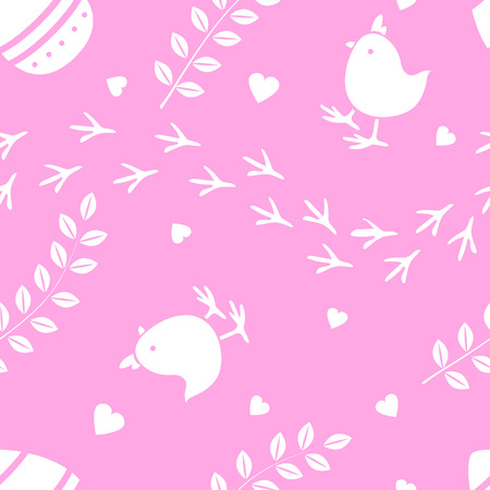 Easter pink seamless pattern retro vintage design party holiday celebration wallpaper and greeting colorful fabric textile with chick illustration.