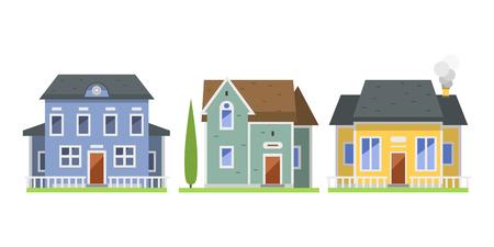 La cabaña de las propiedades inmobiliarias del símbolo de la casa del estilo de la casa plana colorida linda del estilo y el diseño residencial residencial del diseño casero del vector vector. Foto de archivo - 74064813