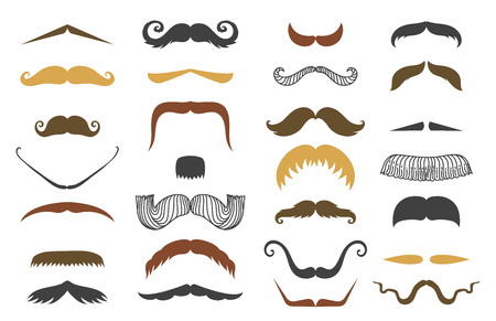 Silhouette vector mustache hair hipster curly collection beard barber and gentleman symbol fashion adult human facial gave vector illustration.