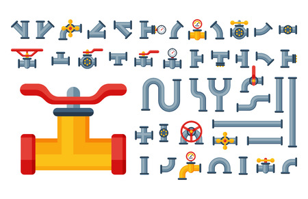 Details pipes different types collection of water tube industry gas valve construction and oil industrial pressure technology plumbing vector illustration. Illustration