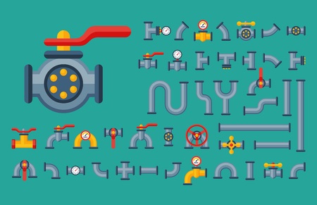 Details pipes different types collection of water tube industry gas valve construction and oil industrial pressure technology plumbing vector illustration. Çizim