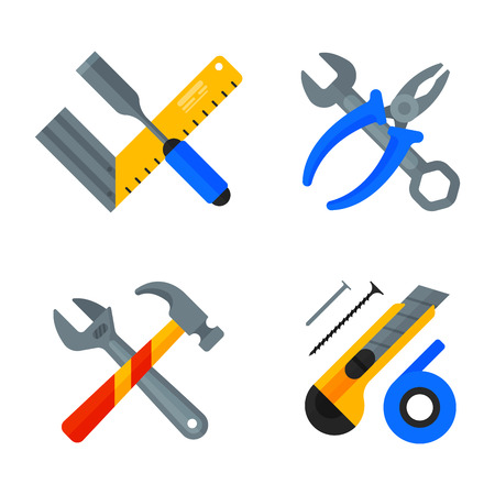 Home repair tools icons working construction equipment set and service worker macter box flat style isolated on white background vector illustration. Illustration