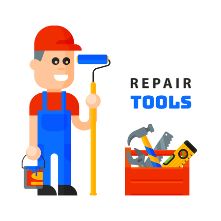 service worker macter man character flat style isolated on white background and home repair tools icons working construction equipment box illustration.