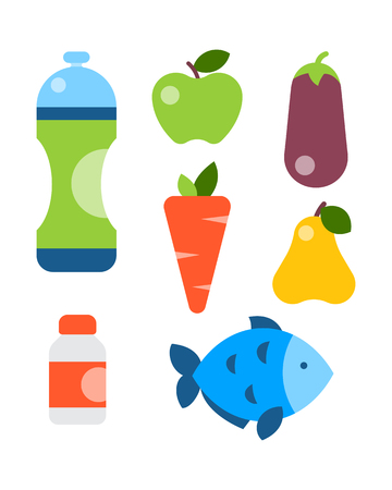 Flat icons set of fitness sport and healthy lifestyle exercise diet food supplements well-being body modern design style vector icons collection.