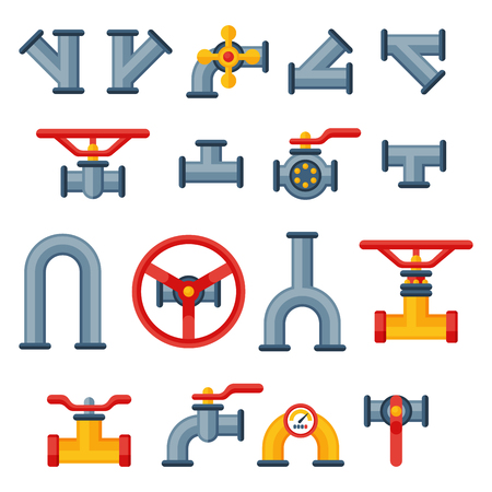 canalization: Details pipes different types collection of water tube industry gas valve construction and oil industrial pressure technology plumbing vector illustration. Illustration