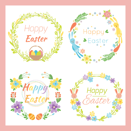 Happy easter hand drawn badge with hand lettering greeting decoration element and natural wreath handmade style vintage symbol spring flower vector illustration.