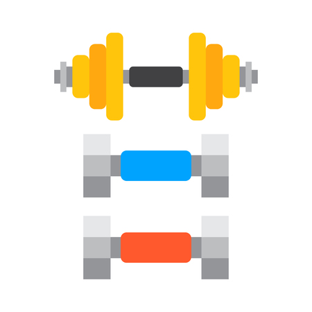 Dumbbells stack lined up rack with metal chrome gym tools center indoor workout activity and heavy equipment health workout vector illustration.