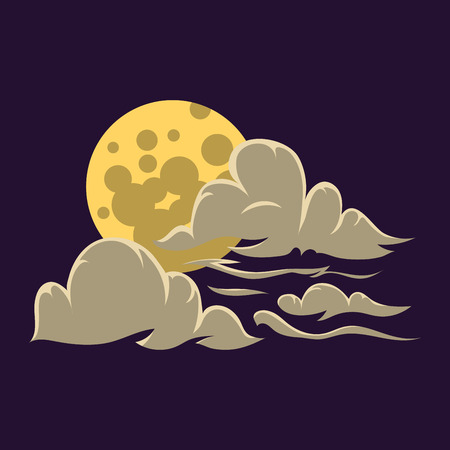 Cartoon moon with clouds nature cosmos cycle surface star astrology sphere and astronomy space lunar bright round planet design vector illustration.