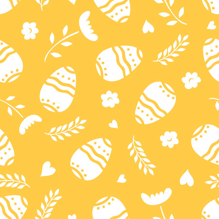 Easter seamless pattern retro vintage design party holiday celebration wallpaper and greeting colorful fabric textile with eggs vector illustration.