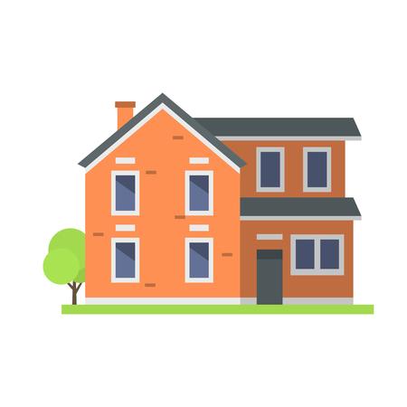 La cabaña de las propiedades inmobiliarias del símbolo de la casa del estilo de la casa plana colorida linda del estilo y el diseño residencial residencial del diseño casero del vector vector. Foto de archivo - 74237545