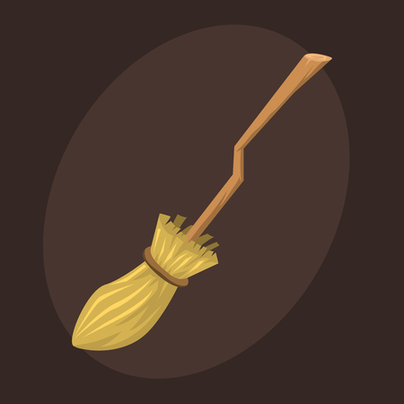 Broom made from twigs on long wooden handle vector illustration tool for cleaning witches broom stick halloween accessory object.