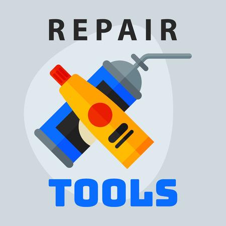 maintenance work: Repair tools adhesive foam icon creative graphic design logo element and service construction work business maintenance equipment vector illustration.