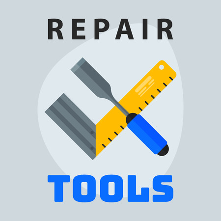 Repair tools ruler screwdriver icon creative graphic design logo element and service construction work business maintenance equipment vector illustration.
