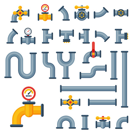 oil and gas industry: Details pipes different types collection of water tube industry gas valve construction and oil industrial pressure technology plumbing vector illustration. Illustration