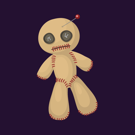 to pierce: Voodoo doll flat icon punishment sign spirituality anger magic toy and halloween needle witchcraft horror symbol vector illustration.