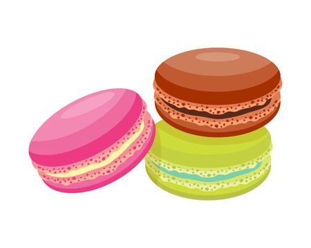 Cookie macaroon homemade breakfast bake cakes isolated and tasty snack biscuit pastry delicious sweet dessert bakery eating vector illustration. Stock Vector - 74396996