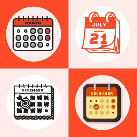 Calendrier vectoriel icônes web organisateur de bureau business graphic paper plan nomination et élément de rappel de pictogramme pour la réunion d'événement ou l'illustration de la date limite.
