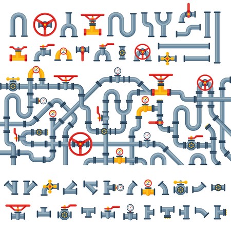 Details pipes different types collection of water tube industry gas valve construction and oil industrial pressure technology plumbing vector illustration.  イラスト・ベクター素材