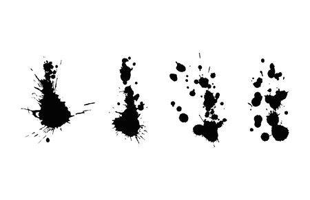 Vector set of ink splashes blots splatter collection grunge design element and art messy backdrop color dirty liquid shape spatter black white silhouette illustration