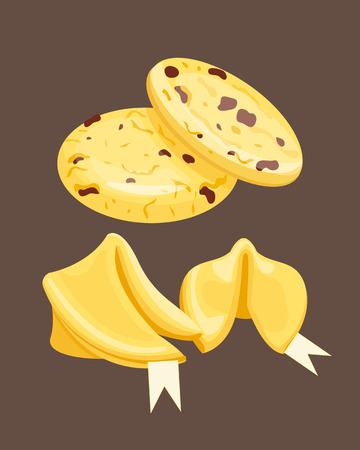indulgence: Cookie homemade breakfast bake cakes isolated and tasty snack biscuit pastry delicious sweet dessert bakery eating vector illustration.