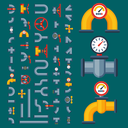 Plain illustration of a  details pipes different types collection of water tube industry gas valve construction and oil industrial pressure technology plumbing vector illustration.