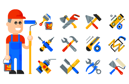 Home repair tools icons working construction equipment set and service worker macter man character flat style isolated on white background vector illustration. Illustration