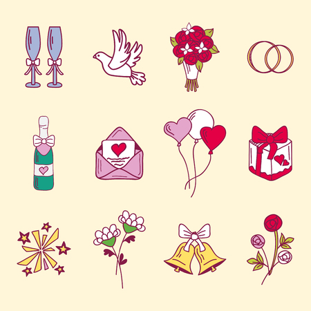 Wedding couple relationship marriage nuptial icons design ceremony celebration and holliday folk icons beauty hand drawn family pink vector illustration.